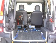 Rear Interior of wheelchair accessible Renault Kangoo with lowered floor