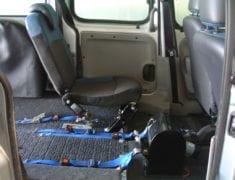 Interior view of wheelchair accessible Renault Kangoo