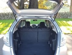 Boot of a Honda Fit Shuttle Hybrid Disability vehicle rental