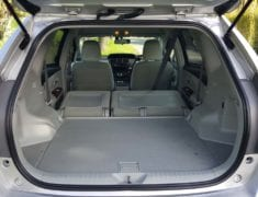 Boot of Toyota Prius Alpha Stationwagon with Push-Pull Hand Controls with seats down